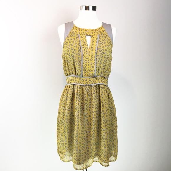 Esley Dresses & Skirts - Esley Yellow Gray Leppard Print Summer Dress Size